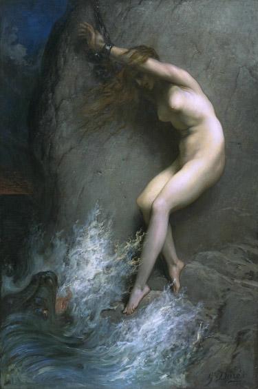 Andrómeda encadenada a una roca de Gustave Doré (1832-1883). Óleo sobre lienzo, 172.7 × 256.5 cm. Año 1869.